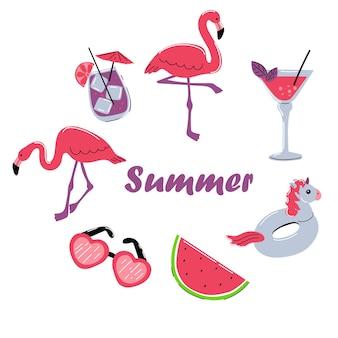 Sommerflamingo verlässt cocktail-einhorn auf einer weißen hintergrundsommerkollektion des designs
