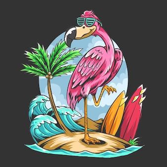 Sommerflamingos am strand mit t-shirt-design von kokospalmen und surfbrettern