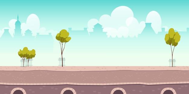 Sommerflusspromenade oder brücke mit grünen bäumen