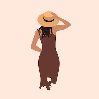 Sommerfrau mit hut im minimalistischen trendstil in den braunen farben handgezeichnet