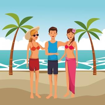 Sommerfreunde genießen den sommer