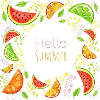 Sommerfruchthintergrund Premium Vektoren