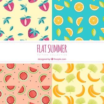 Sommerfruchtmuster im flachen design