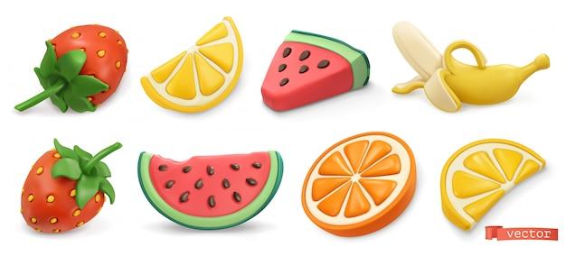 Sommerfrüchte mit schatten gesetzt. erdbeeren, wassermelone, zitrone, orange, banane 3d.