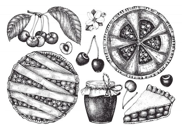 Sommerfrüchte und beeren - kirschskizzensammlung. weinleseillustrationen von kirschzweig, beeren, backkuchen. handgezeichnete sommernahrungsmittelelemente im gravierten stil.