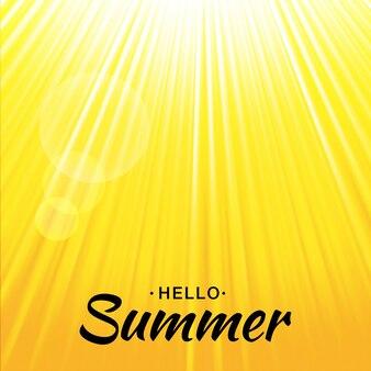 Sommergelber glühhintergrund mit sonnenstrahlen