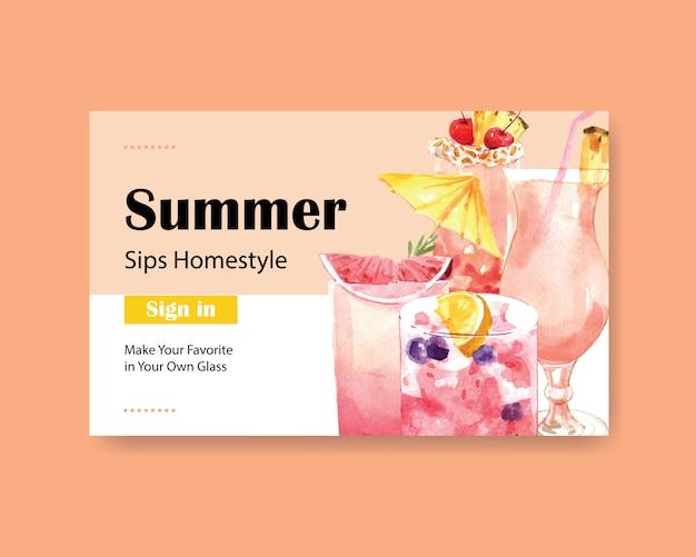 Sommergetränk website-vorlage