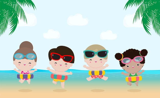 Sommergruppe kinder in badekleidung mit aufblasbaren spielzeugen am strand