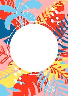 Sommergrußkartenschablone mit tropischen blättern