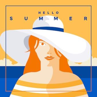 Sommerhintergrund flaches design sommerzeit 6