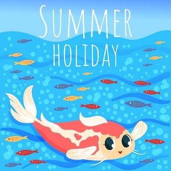 Sommerhintergrund mit fisch- und seeelementen