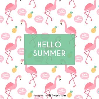 Sommerhintergrund mit flamingomuster