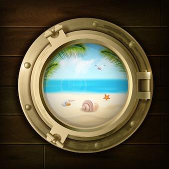 Sommerhintergrund mit palmenschalen und seestern am strand im schiffs bullauge auf holztisch