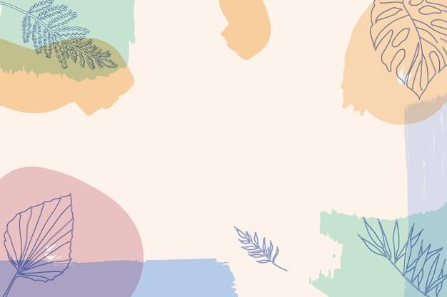 Sommerhintergrund mit pastellfarbenen pinseln und blättern aus der mitte des jahrhunderts
