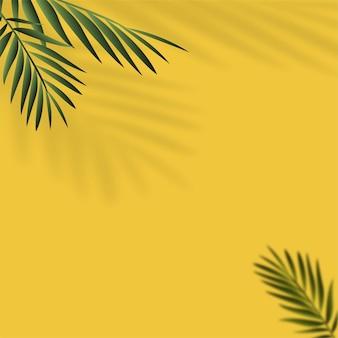 Sommerhintergrund mit schatten von tropischen blättern. vektor.