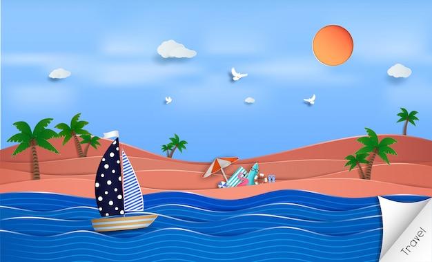 Sommerhintergrund mit segelboot auf dem ozean