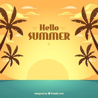 Sommerhintergrund mit sonnenuntergang in der flachen art