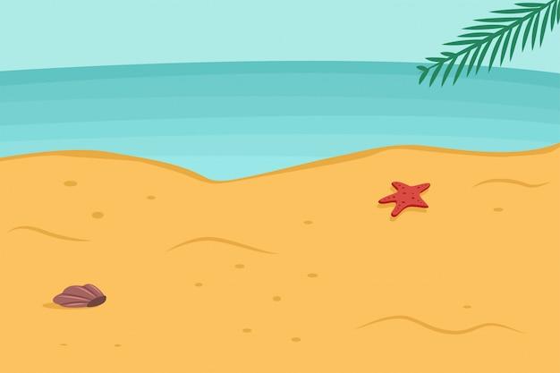 Sommerhintergrund mit strand, meer, palmblatt, starfish und muschel im sand. vektor cartoon landschaft illustration.
