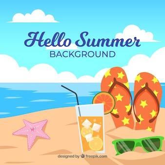 Sommerhintergrund mit strandansicht in der flachen art
