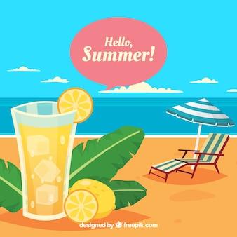 Sommerhintergrund mit strandansicht und frischem getränk