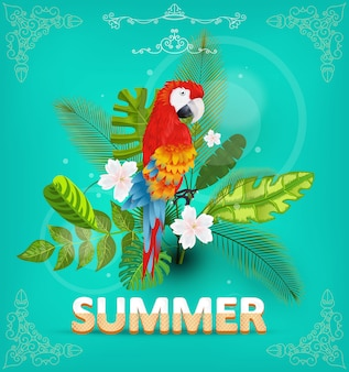 Sommerhintergrund mit tropischen pflanzen und blumen. für typografische, banner, poster, partyeinladung. illustration