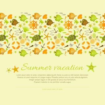 Sommerhintergrund verziert mit nautischen illustrationen.