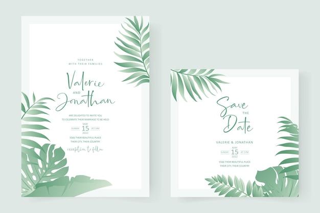 Sommerhochzeitskartendesign mit tropischem blattthema Premium Vektoren