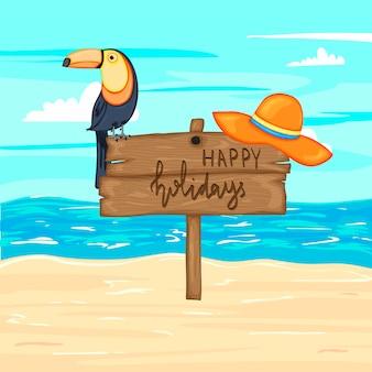 Sommerholzschild mit frohen feiertagen, meer und sand. vektor-illustration