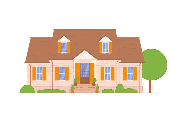 Sommerhütte. hausbau fassade außen mit treppe, tür eingang, mansarde fenster symbol. gemütliches sommerhaus auf weißem hintergrund. immobilien- und architekturillustration