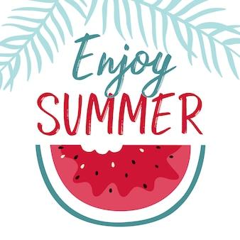 Sommerillustration mit Scheibenwassermelone und -beschriftung.