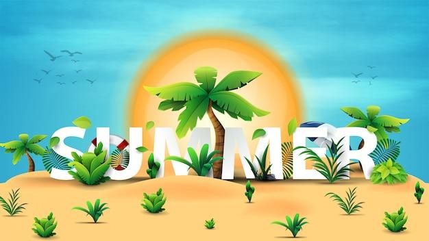 Sommerillustration mit sommer 3d text, wüste, palmen, tropische büsche, große sonne am horizont und einen klaren blauen himmel.