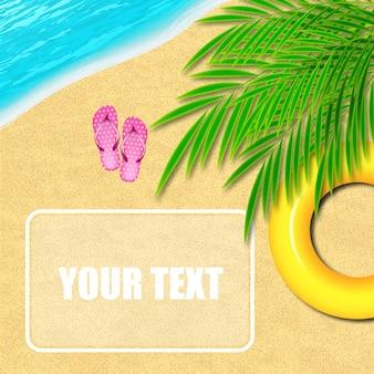 Sommerillustration mit strand von palmen
