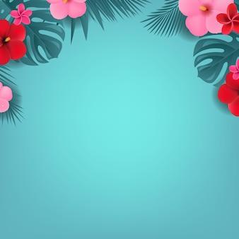 Sommerillustration mit tropischen blumen und blättern