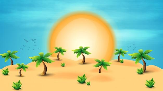 Sommerillustration, wüste mit palmen und tropischen büschen, eine große sonne am horizont und ein klarer blauer himmel.
