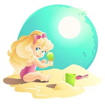 Sommerkarikaturillustration. junge babyfigur, die auf sand sitzt und mit sandburg spielt. eimer, schaufel. kinderillustration, buchumschlag, werbung. banner, plakat, druck.