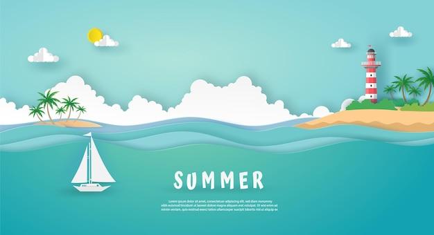 Sommerkarte in der seelandschaftsansicht mit leuchtturm auf insel und boot auf meereswelle.