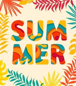 Sommerkarte mit tropischen blättern auf hintergrund.