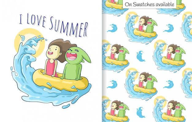Sommerkarte und nahtloses muster mit einer hand gezeichnet von glücklichem süßem mädchen und ihrer freundin, die die wellen genießt