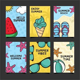 Sommerkarten-design-vorlagenkollektion