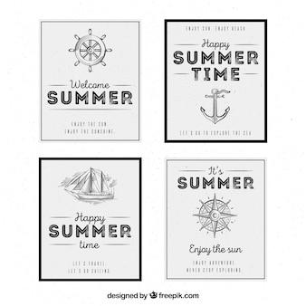 Sommerkarten mit nautischen elementen im vintage-stil