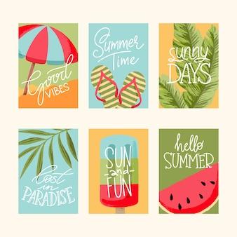 Sommerkarten sammlung, elemente mit anführungszeichen, grußkarten, verkauf abzeichen, gästebuch, pos
