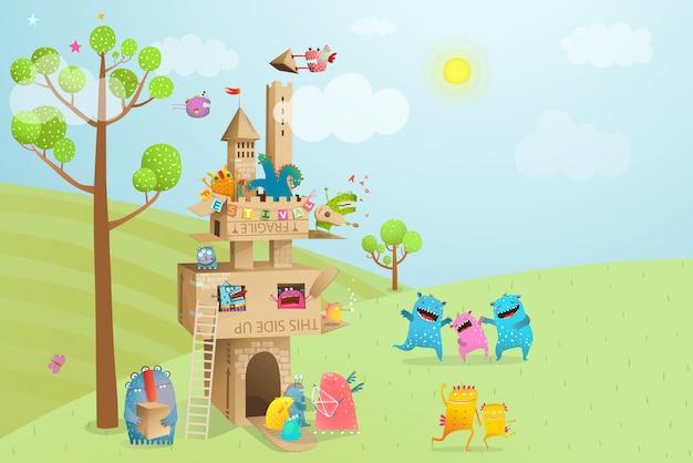 Sommerkartonhausspiel für kinder in der natur und lustige monster.