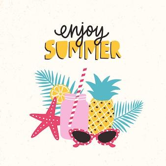 Sommerkomposition mit frischem cocktail