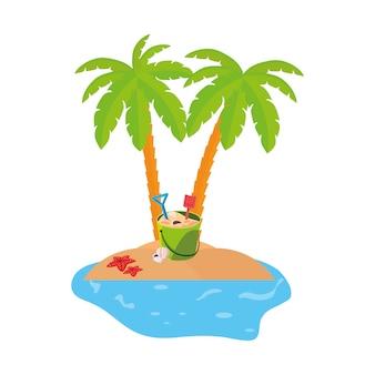 Sommerküstenszene mit palmen und kokosnuss