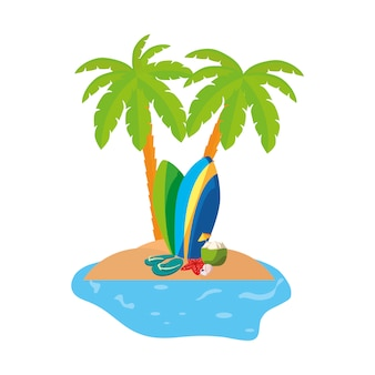 Sommerküstenszene mit palmen und surfbrettern