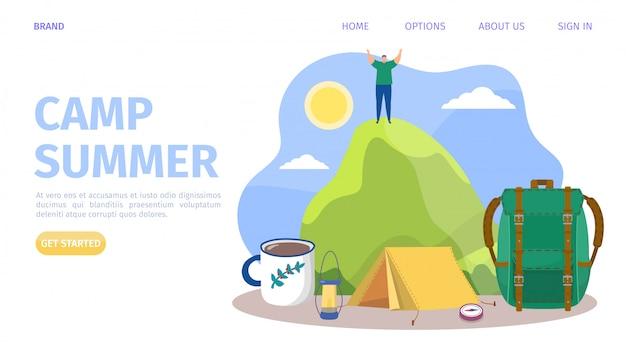 Sommerlager am berg, illustration. mann im abenteuer, reisetourismus an der natur im freien. wanderurlaub urlaub