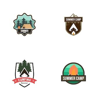 Sommerlager-weinlese logo vector template