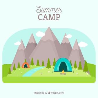 Sommerlagerhintergrund mit bunten zelten
