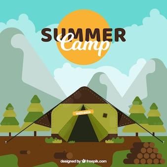 Sommerlagerhintergrund mit flachem zelt