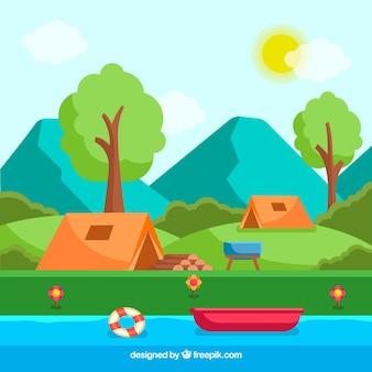 Sommerlagerhintergrund mit fluss und zelten